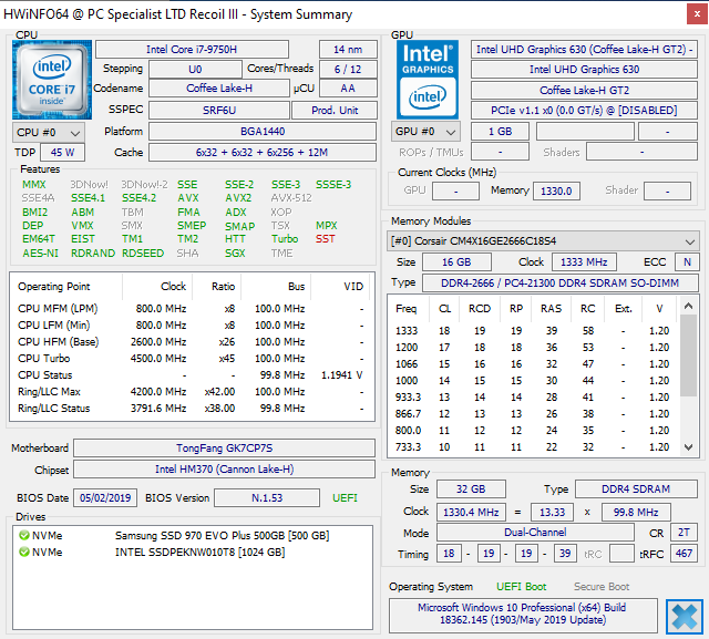 Recoil III i7 9750H RTX2070 | PCSPECIALIST